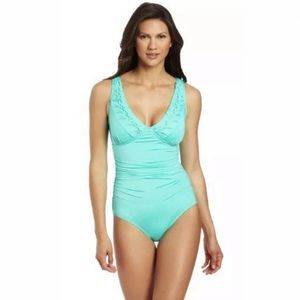 🏖New JANTZEN 1 Piece Swimsuit Ruched Pin Tucked